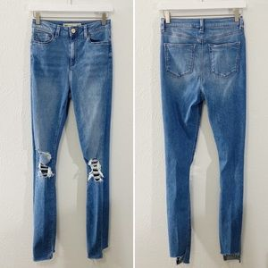 ASOS High Rise Distressed Denim Step Hem Jeans